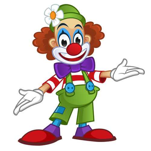 Festival cheerful clown illustration vector 02