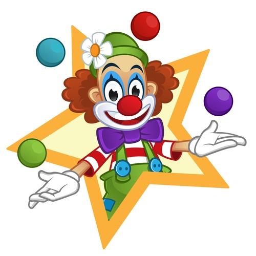Festival cheerful clown illustration vector 03