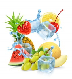 Multifruit with ice cubes and water splash vector 01