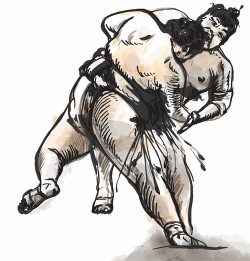 Japanese sumo hand drawing vector 08