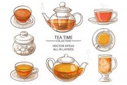 Glass Tea Sets vector