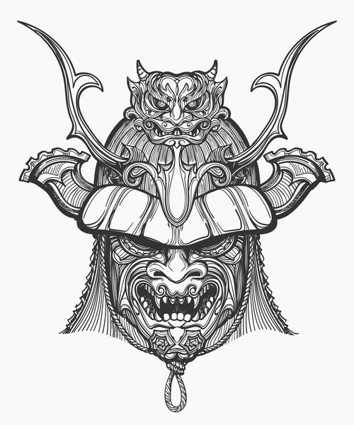 Japan Samurai Mask hand drawn vector