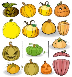Halloween pumpkin illustration vector set