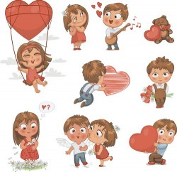 Cute couple vector material