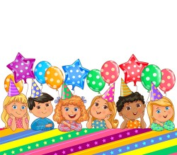 Birthday bright banner with balloons and kids vector 03