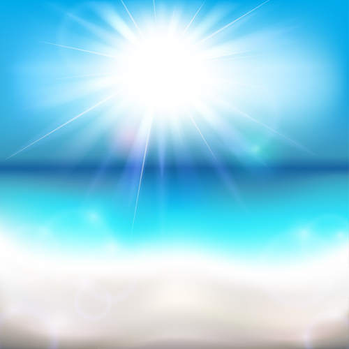 Sun shining over the ocean vector background