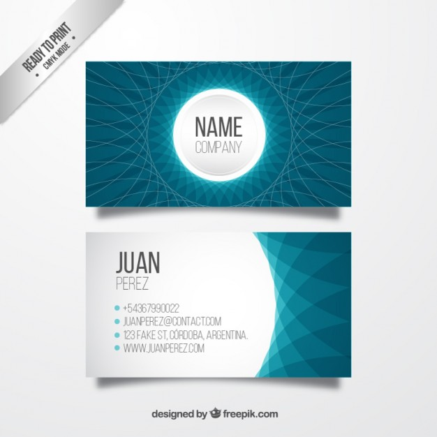 Abstract business card in blue colors  Vector | Free Download
