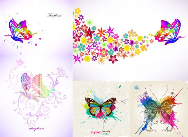 Abstract colored butterfly style vector graphic