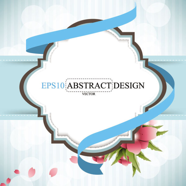 Abstract foliage & Flowers vector labels 03