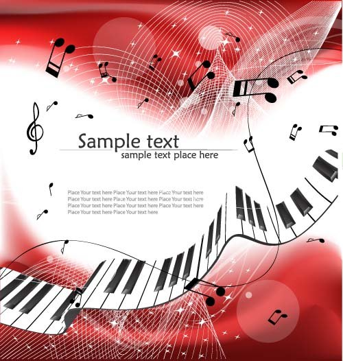 Abstract music art background vectors 04