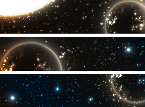 Abstract starry sky vector banner 01