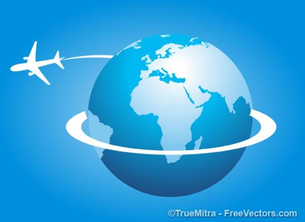 Airplane around the world  Vector | Free Download
