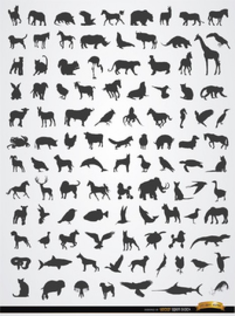 Animal silhouettes vector collection