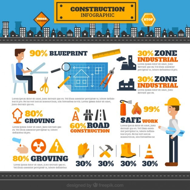 Architects and construction elements infography  Vector | Free Download