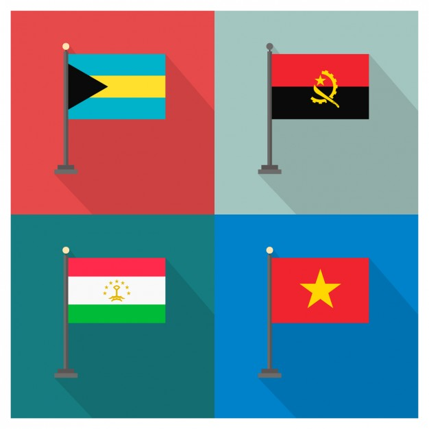 Bahamas Angola Tajikistan Vietnam and Flags