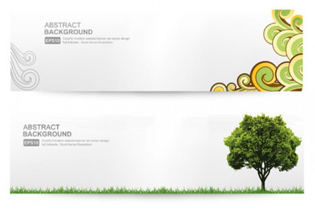 banner with tree and banner with curly ornaments  Vector | Free Download