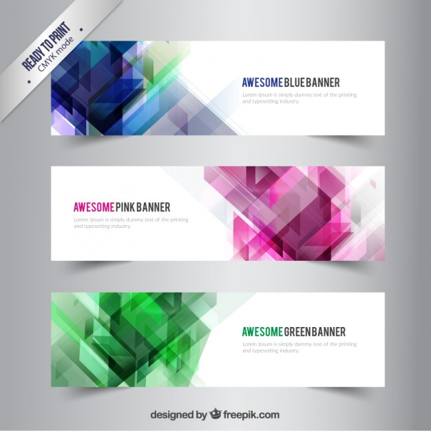 Banners with abstract shapes