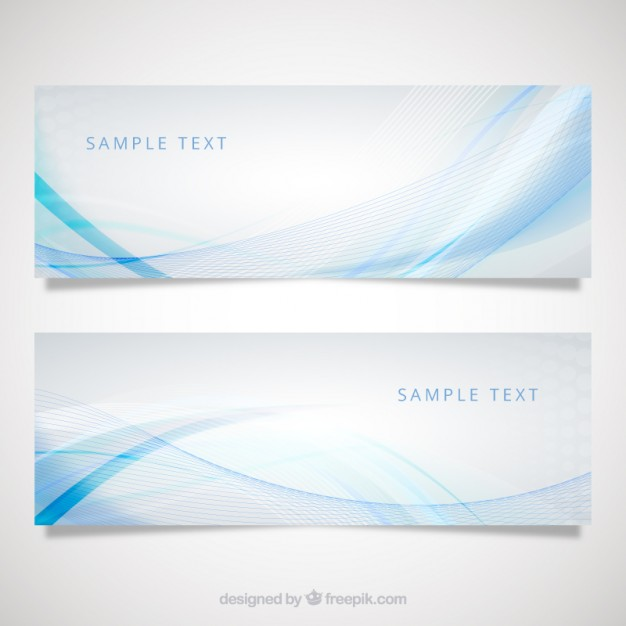 Banners with blue wave pattern  Vector | Free Download