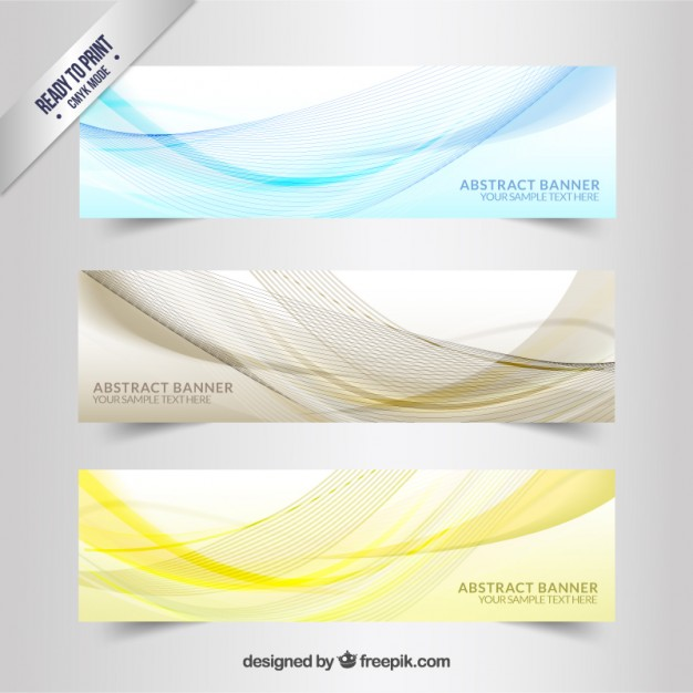 Banners with wavy lines pattern  Vector | Free Download