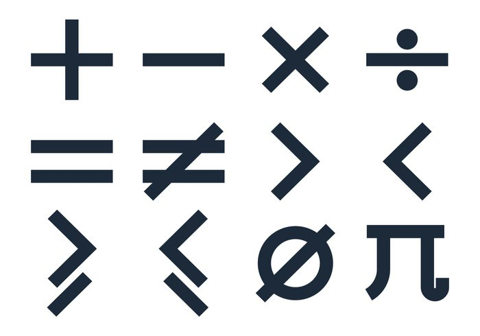 Basic Math Symbols Vectors