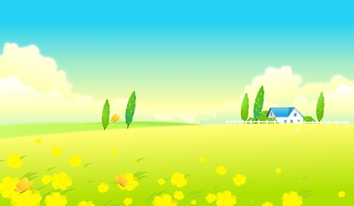 Beautiful cartoon landscapes vector set 09