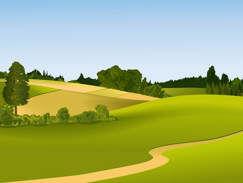 Beautiful fields landscapes vector set 23