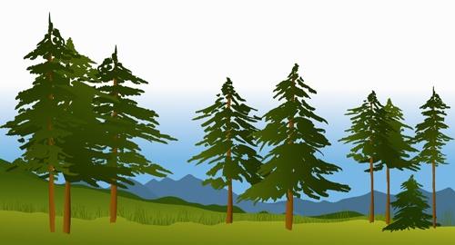 Beautiful fields landscapes vector set 15