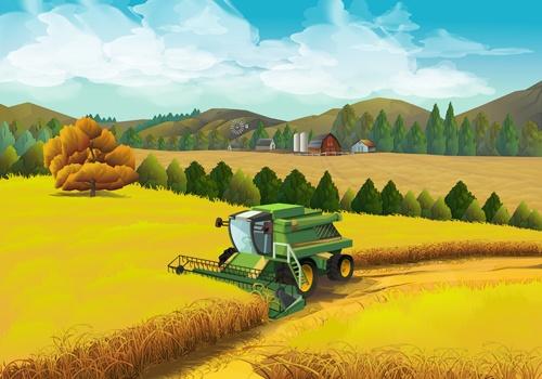 Beautiful rural landscapes vector material 04