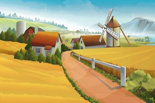 Beautiful rural landscapes vector material 03
