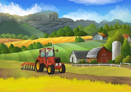Beautiful rural landscapes vector material 02