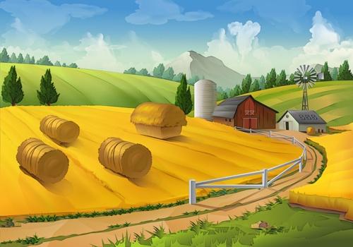 Beautiful rural landscapes vector material 01