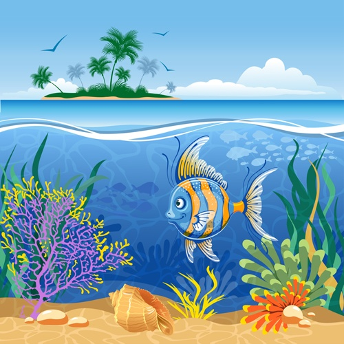 Beautiful Underwater World vector 03