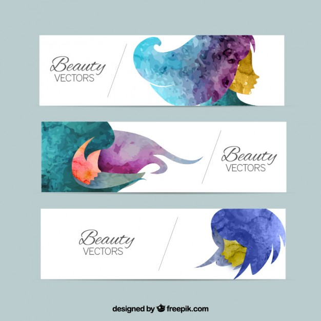 Beauty banners in watercolor style  Vector