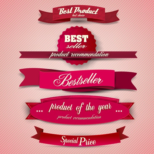 Best Quality labels with Ribbons vector 05