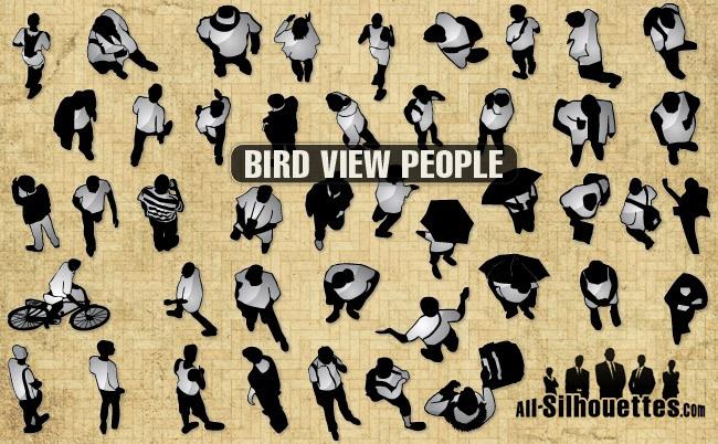 Bird view vector people