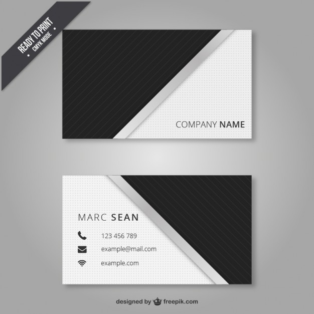 Black and white business card  Vector | Free Download