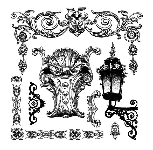 Black and white Decorative pattern Borders vector 05
