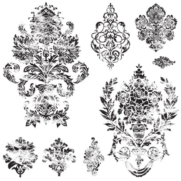 Black and white Decorative pattern free vector 03