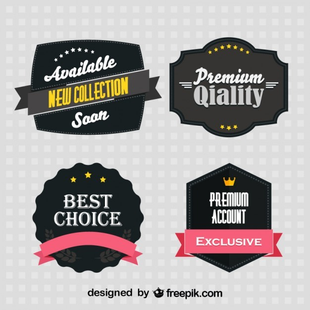 Black Retro Stickers Set  Vector | Free Download