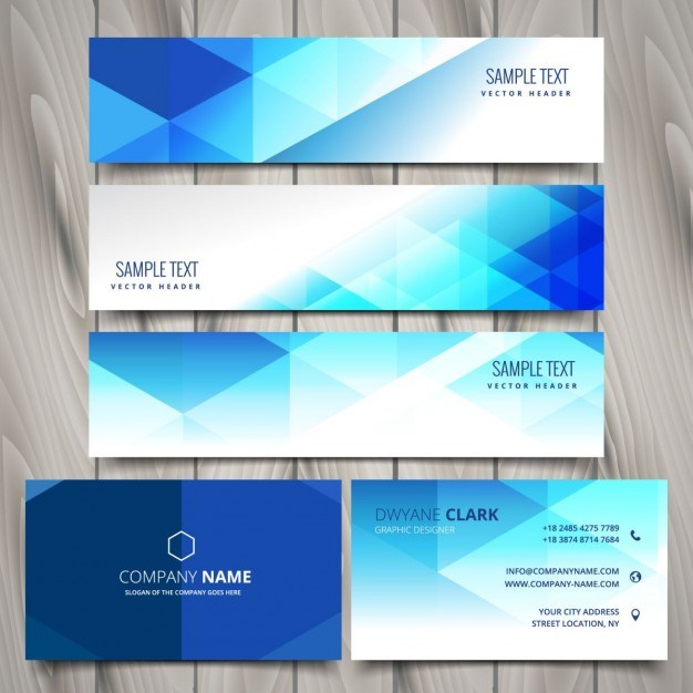 Blue polygonal business stationery