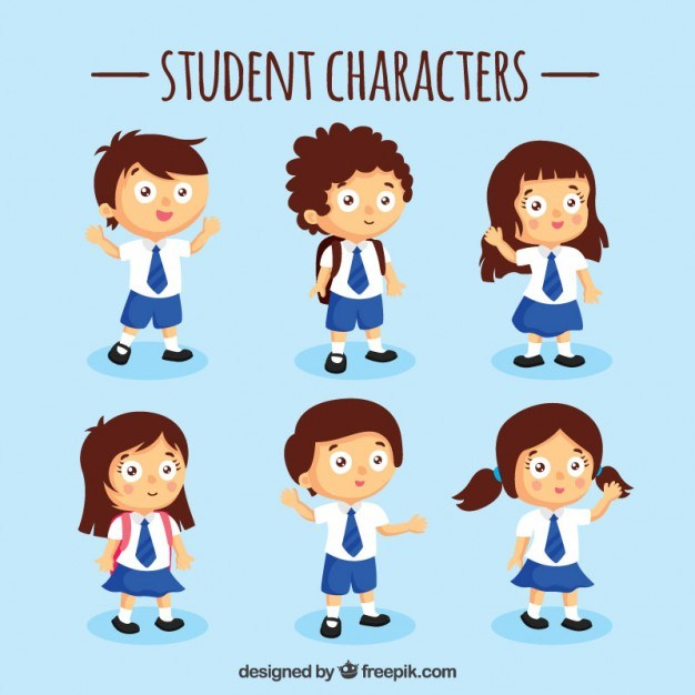 Blue Student Characters Set