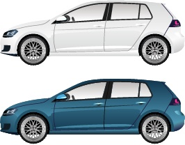 Blue with white car vector
