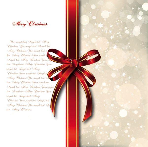 bow merry christmas cards vector 02