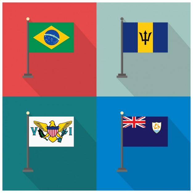 Brazil Barbados Fidji Flags