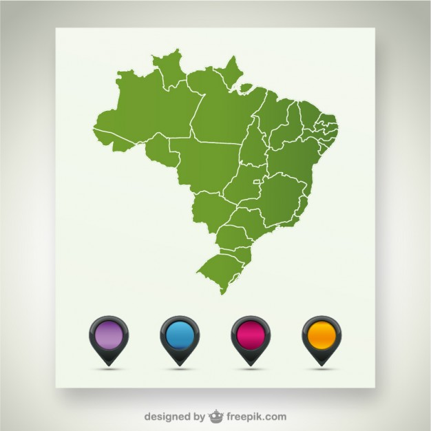 Brazil vector map template   Vector | Free Download