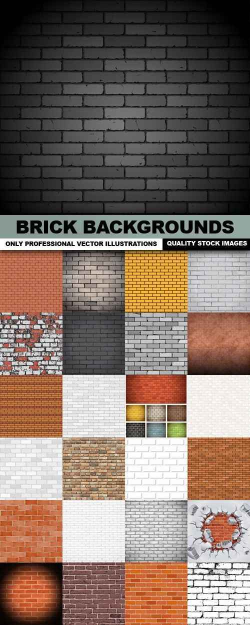 Brick Backgrounds – 25 Vector