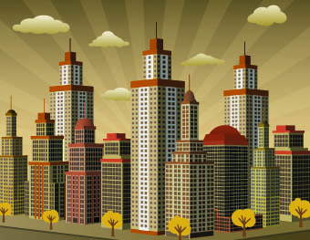 buildings with skyscrapers design vector 05