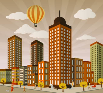 buildings with skyscrapers design vector 04