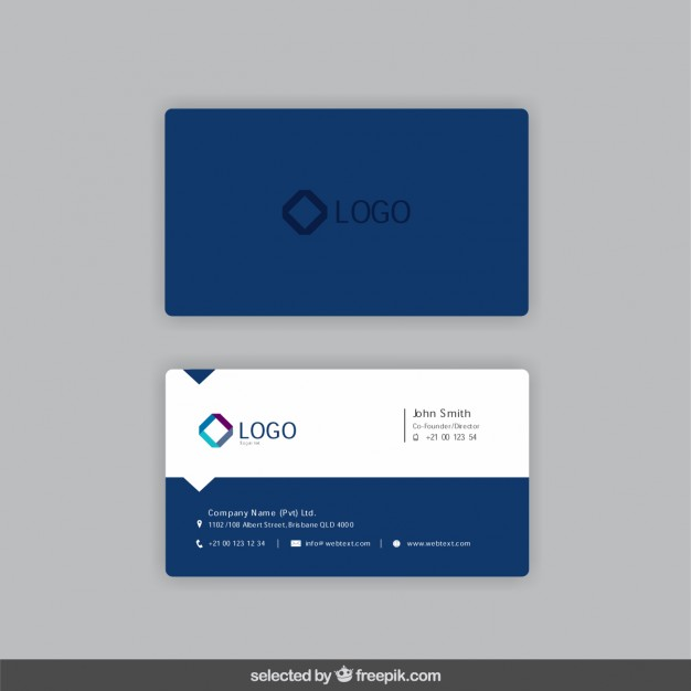 Business card in dark blue color  Vector | Free Download