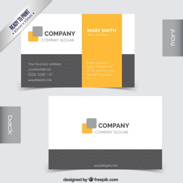 Business card in grey and yellow tones  Vector | Free Download